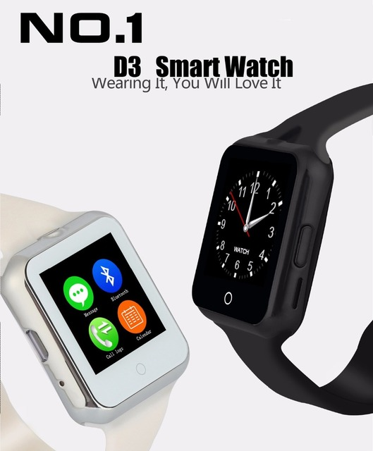 2016 caliente d3 bluetooth smart watch para apple/ios samsung/teléfono android soporte sim/tf hombres mujeres niños del ritmo cardíaco reloj de pulsera