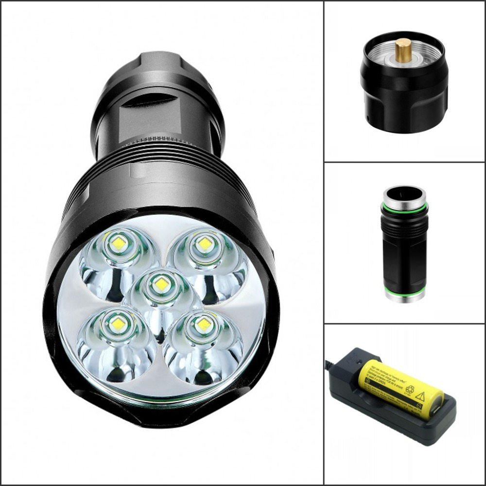 Tinhofire T5 5xT6 5xCree XM-L T6 6000 Lumens 5-Mode LED Flashlight Torch Lamp light Hunting Camping 18650/26650 Battery y60 led flashlight 6000 lumens 4xcree xm l t6 power by 4x18650 battery searchlight hiking camping torch handle mining lamp