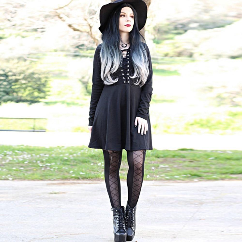Street Style Black Woman: 2018 Fall Gothic Office Lady Punk Style Black Women