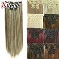 De largo clip sintético en las extensiones del pelo recto extensiones sintetico de clip superaplique cabelos resistente ao secreto