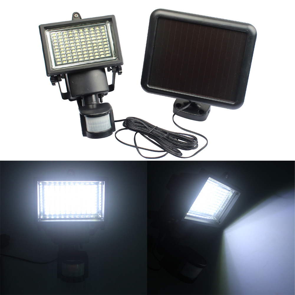 100LED solar body sensor wall lamp infrared flood light projection lamp super bright solar garden lights ds 360 solar sensor led light black