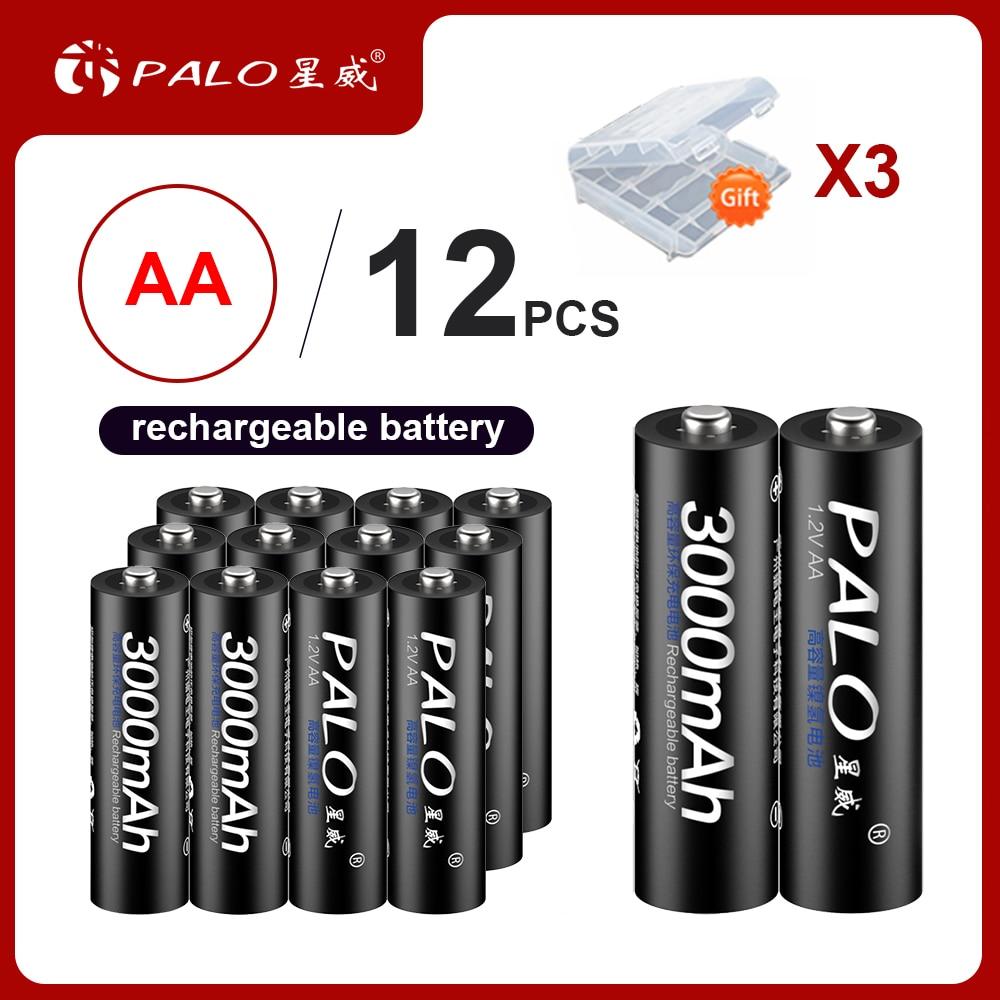 12 шт. 100% оригинальные аккумуляторные батареи PALO 1,2 в AA 3000 мАч 2A батареи ni-mh перезаряжаемые батареи для камеры фонарика