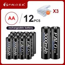 12pcs 100% Original PALO 1.2V AA rechargeable batteries 3000 mAh 2A batteries Ni-MH rechargeable battery for camera flashlight