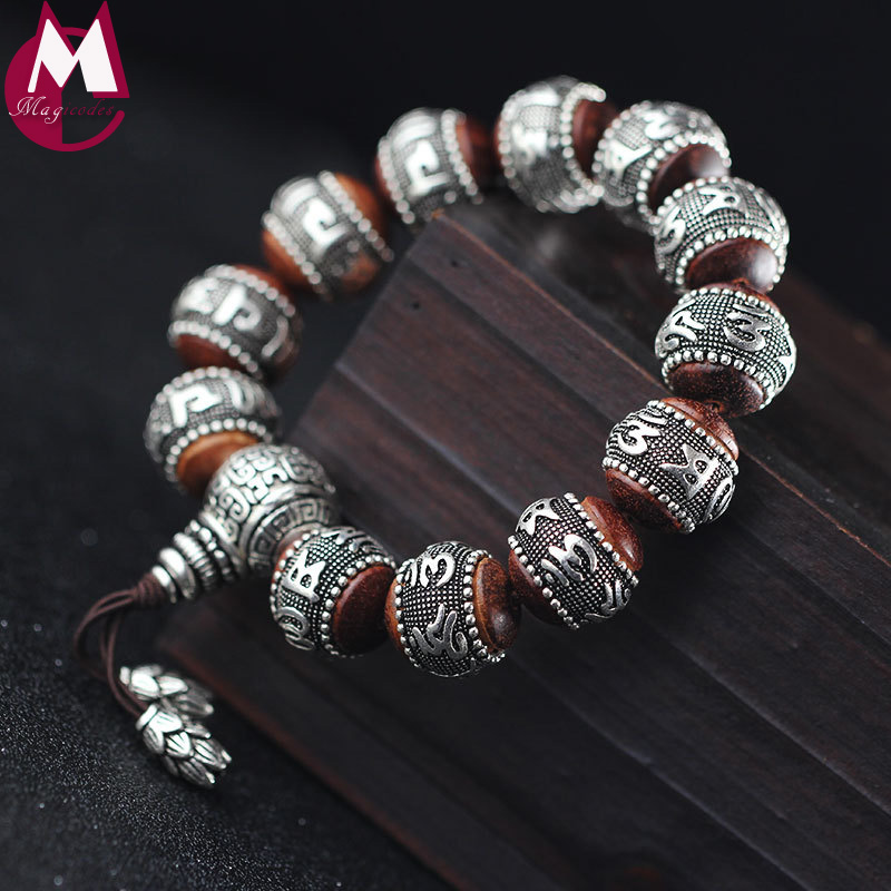 16mm Round Sandalwood Thai Silver Beads Bracelet For Women Buddhism Six Letter Scripture Women Men Fine Silver 990 Jewelry SB69 16mm round sandalwood thai silver beads bracelet for women buddhism six letter scripture women men fine silver 990 jewelry sb69