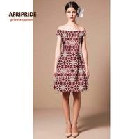 2017 AFRIPRIDE private custom african clothing midi dress short-sleeve knee-length off-shoulder pluss size summer dress A722539
