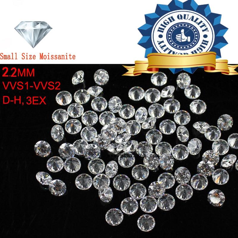 1CTW/الكثير صغيرة حجم 2.2 مللي متر الأبيض اللون مويسانيتي جولة بريليانت فضفاض Moissanites حجر لصنع المجوهرات-في ماس وأحجار كريمة لينة من الإكسسوارات والجواهر على  مجموعة 1