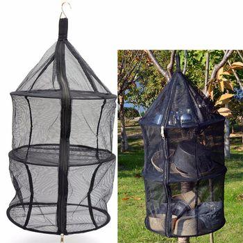 Portable Drying Dryer Rack Net Folding 3 Layer Hanging Mesh Bag Dish Shelf closet Storage Basket Tableware for Outdoor Tool