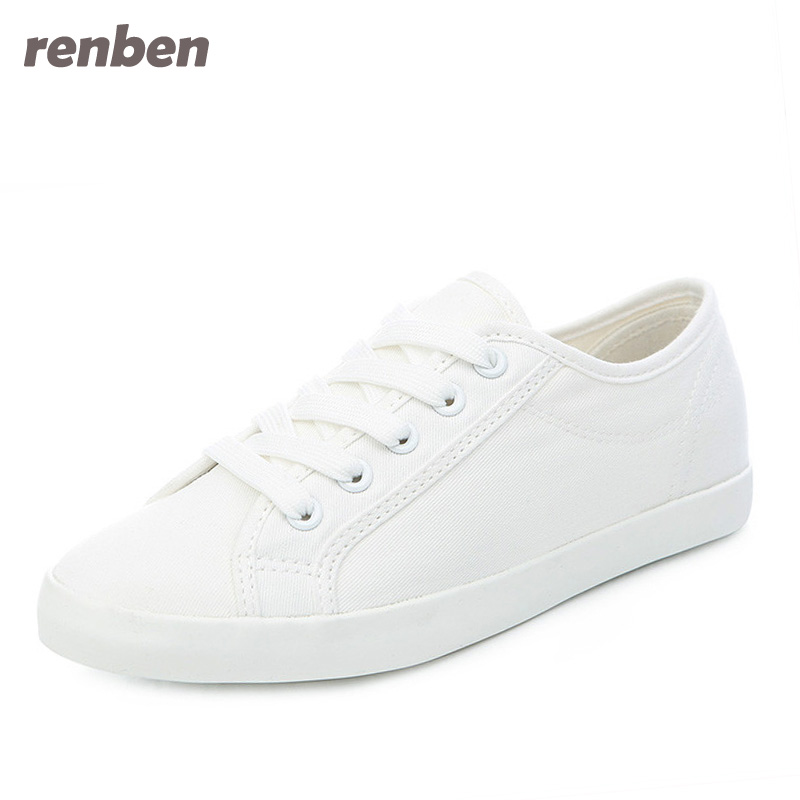 White Shoes 2018 Spring Fashion Women Canvas Shoes Casual Lace Up Women Flats Shoes Breathable cd44 renben women canvas shoes 2017 fashion flats women casual white shoes breathable canvas lace up candy colors shoes 6e06