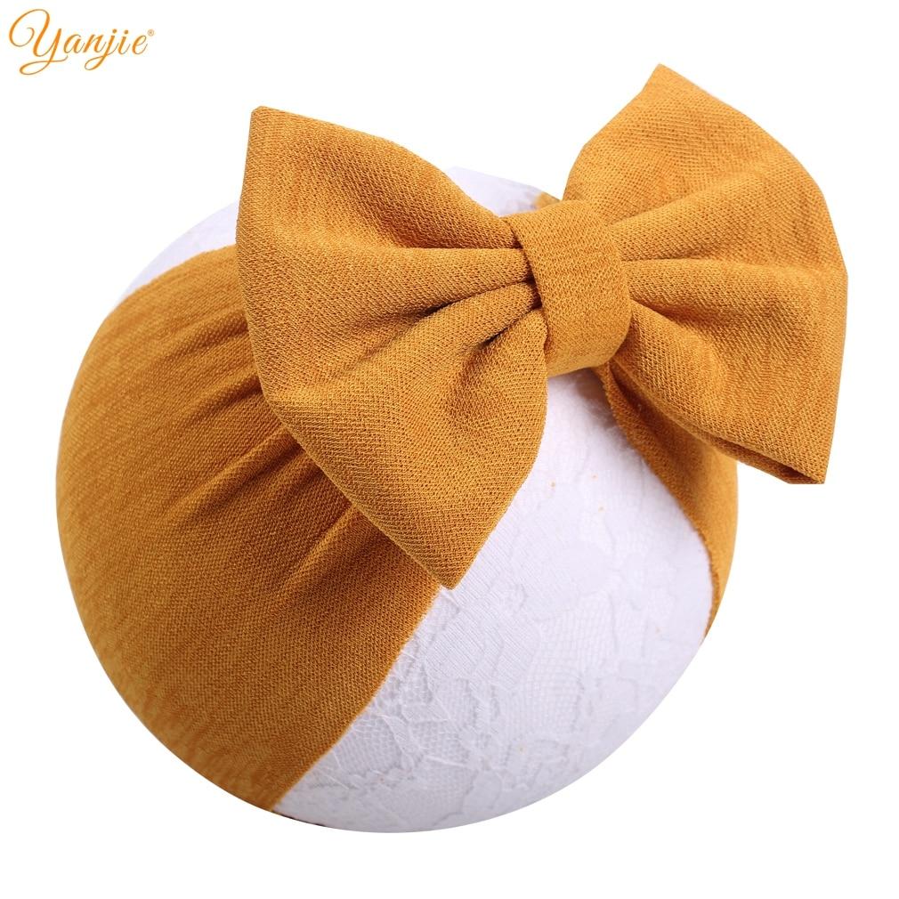 2019 New Rib Fabric Knot Bow Turban Spring 5'' Big Hair Bow Girls Headband Headwrap For Kids Hair Accessories Hot Sale