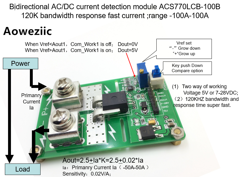 Aoweziic ACS770LCB-100B ACS770 AC/ DC detection over current protection module over current protection function Rang:-100A-100A 1pcs current detection sensor module 50a ac short circuit protection dc5v relay page 6