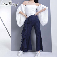 MIAOQING 2018 Casual Loose Striped High Waist Flare Pants Pleated Wide Leg Pants Asymmetric Women Pants Korean Fashion Trousers