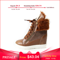 2018 Winter Boots Women Wedges Sneakers Warm Long plush Snow boots High heel Women's Elevator Casual Shoes Casual Platform Shoes