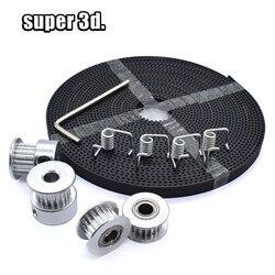 5 mètres courroie de distribution + 2 pièces GT2 poulie de Distribution + 2 pièces Galet Tendeur + 4 pièces ressort de couple + 1 pièces Kit de clé 3D imprimante accessoires