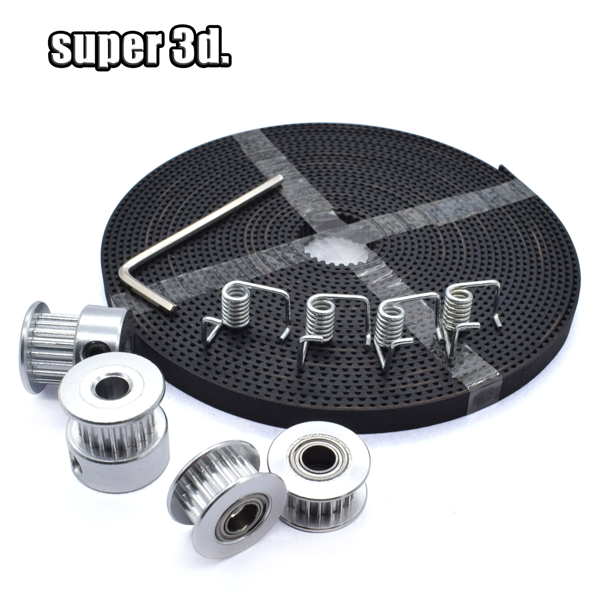 5meters Timing Belt + 2pcs GT2 Timing Pulley + 2pcs Idler Pulley + 4pcs Torque Spring +1pcs Wrench Kit 3D Printer Accessories