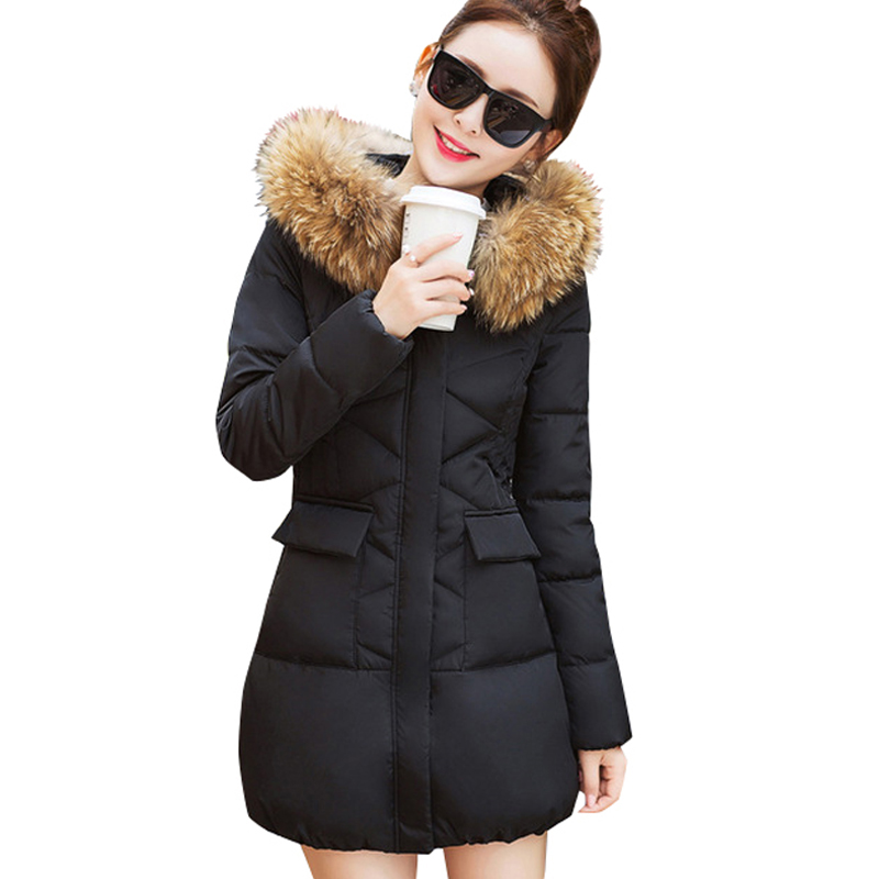 Подробнее о 2017 New Fur Collar Parkas Women Winter Coats Medium-long Thick Solid Hooded Down Cotton Female Padded Jacket Warm Slim Outwear winter jacket men coats thick warm casual fur collar winter windproof hooded outwear men outwear parkas brand new