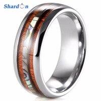 Shardon結婚式&婚約ジュエリーメンズ8ミリメートルタングステン結婚指輪でダブルウッド&パールシェルインレイ婚約リン