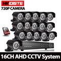 16CH 1080P AHD NVR комплект AHD HD HDMI 1.0MP 720P камера ночного видения Водонепроницаемая P2P облачная камера видеонаблюдения cctv комплект 1 ТБ HDD
