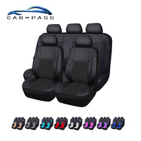 Car pass PU Leather 9 Color Car Seat Cover Universal Full Seat Covers Cute Pink Auto Interior Accessories Car Styling
