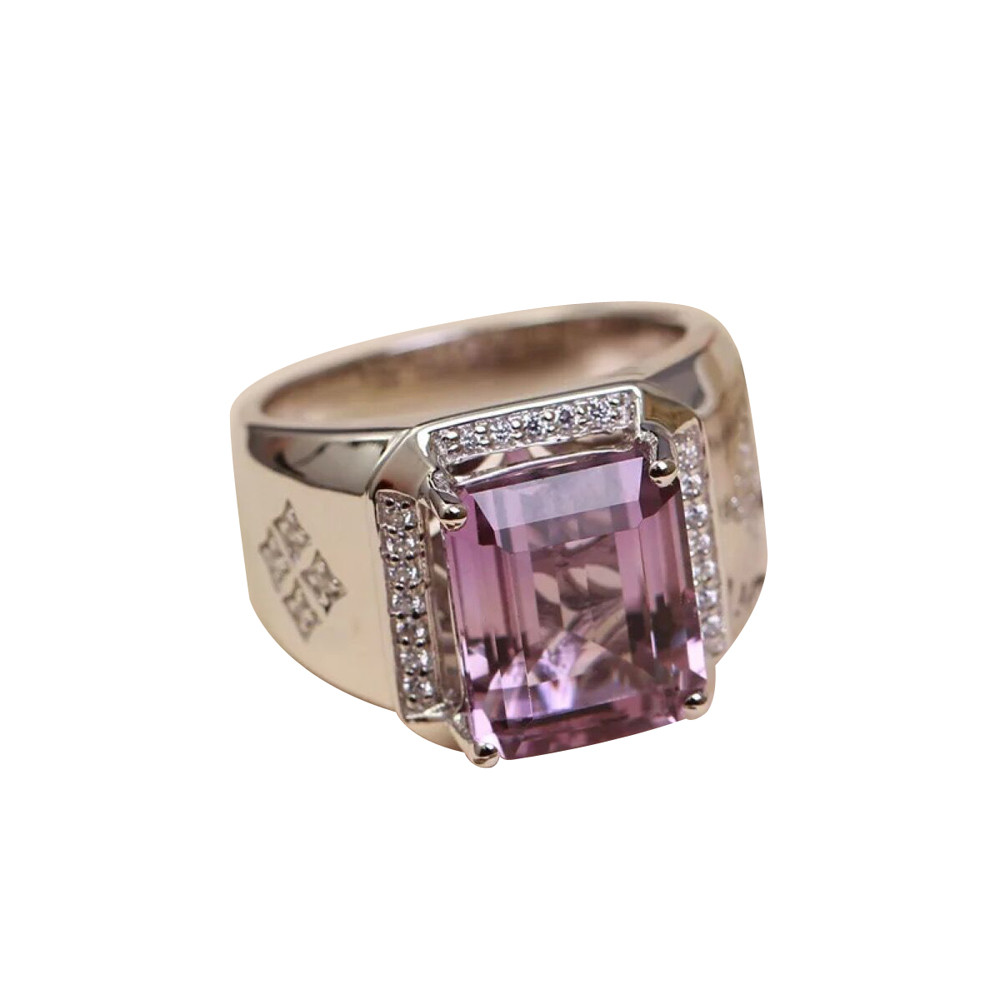 gemstone fine jewelry factory wholesale 925 sterling silver natural purple crystal amethyst adjustable ring for man