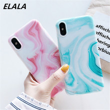 ELALA Glitter Marble Case For iPhone XR Candy Color Flower Pattern Silicone Cover 6 S 8Plus X XS Max IMD
