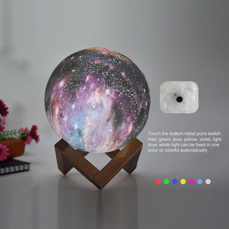 Led Night Light 3D Print Starry Sky Moon Planet Lamp 7 Color Change Rechargable Moon Touch Switch 15CM Lightings Hot Sle