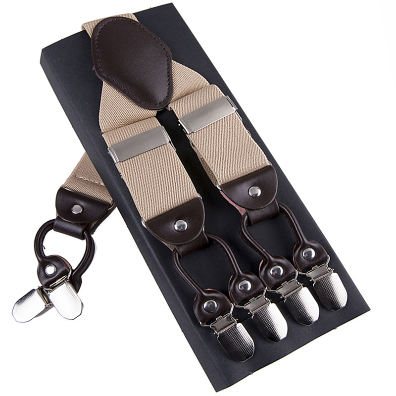 Fashion Unisex Suspenders 6 Clips Elasticity Adjustable Leather High QualityWomen Men Lengthen Tightness Straps Box Gift