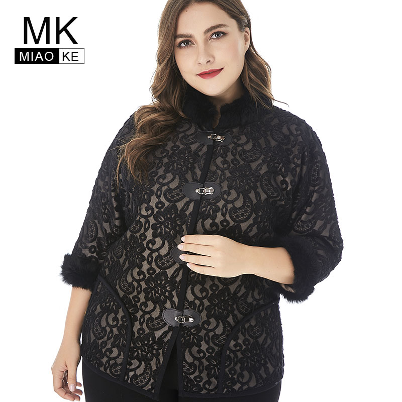 Miaoke 2018 Winter Womens Coats Plus Szie Jacket And Coat For Women High Quality Fashion Ladies Vintage Coat 3/4 Sleeves Elegant