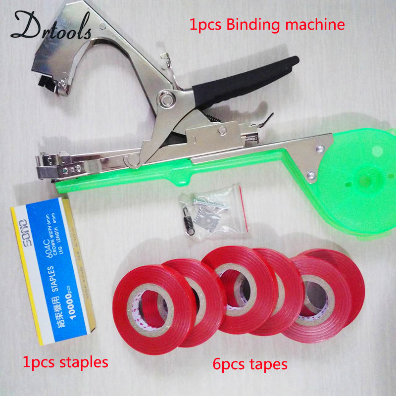 New High Quality Plant Branch Hand Tying Staples +Tapener +TapesBinding Machine Flower Vegetable Garden Garden Tools 1set