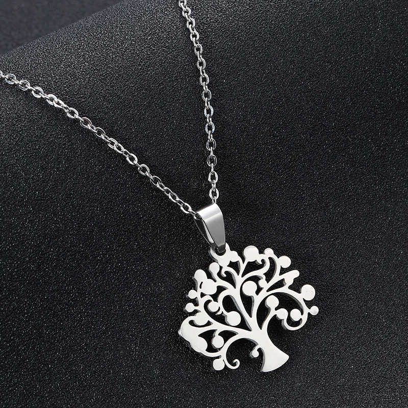 Lucky Tree of Life สร้อยคอจี้สำหรับผู้หญิง/หญิงเหล็กสีสร้อยคอของขวัญเครื่องประดับ Bijoux