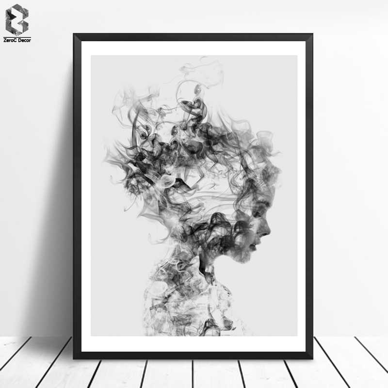 Cuadros Posters And Prints Black Wall Art Canvas Painting Smog Pictures For Living Room Nordic Decoration Girl Dissolve Me