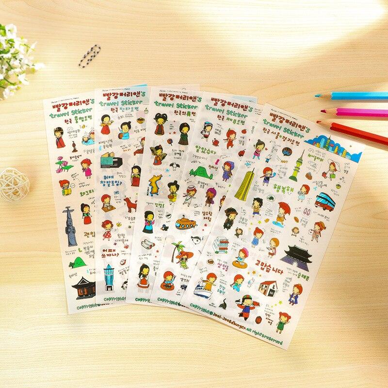 6 sheets Diy Craft Decorative Stickers for Adesivi Scrapbooking Paper Sticker Handmade Gift Card photo album Travel