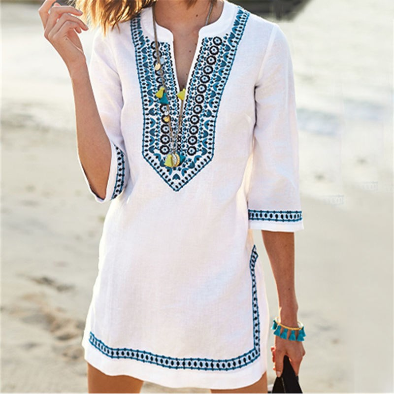 Fashion 2019 Women V Neck Mini Beachwear Summer Beach Dress White Cotton Loose Embroidered Dress in Dresses from Women 39 s Clothing