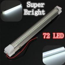 12V Car Auto Caravan Interior White Light Strip Bar 72 LED 340MM Lamp ON/OFF Switch For Universal Cars