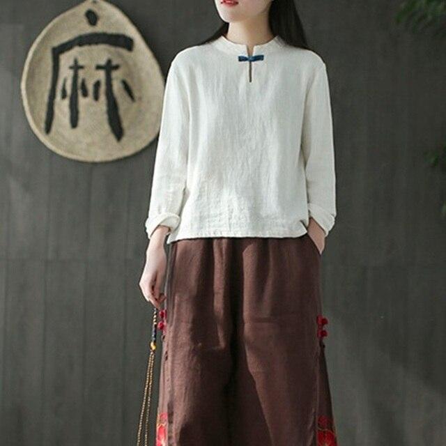 d082e5115d4 Linen shirt women traditional chinese shirt white womens linen clothing  kimono women 2018 cheongsam top TA673
