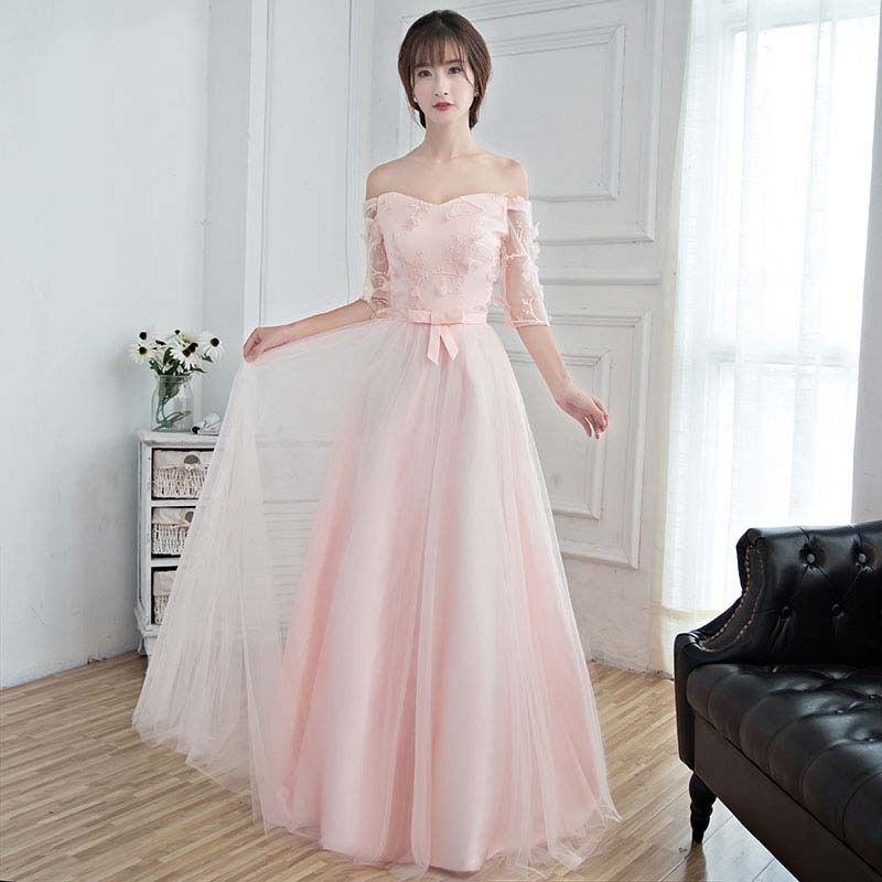 Light Pink Wedding Gown: Light Pink Formal Sleeved Bridesmaid Dresses For