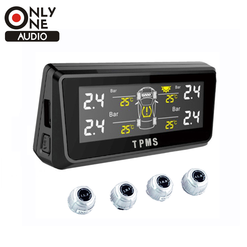 ONLY ONE AUDIO Wireless solar Energy Car TPMS with 4  Exernal sensor Portable tyre Pressure Monitoring Display  with LCD Screen energy aware technique for wireless sensor network
