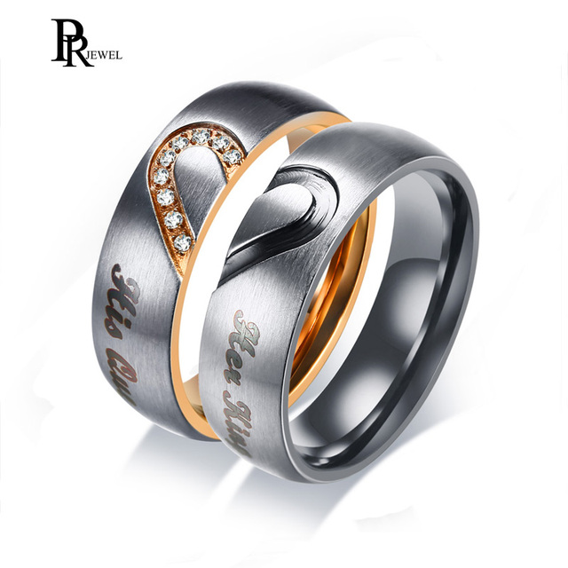 His Queen Her King Wedding Bands Ring Real Love Heart Promise Gift