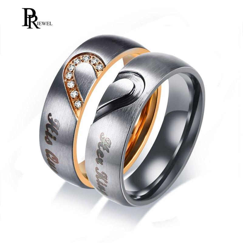 Sa reine son roi bandes de mariage bague véritable amour coeur promesse cadeau anneaux 6 MM en acier inoxydable Couple Alliance