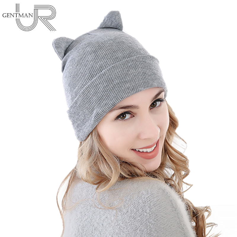 1pcs Hat Female Winter Hat With Ears Cute Hats For Women Braided Knitted Beanies Hat 5 Solid Colors Warm Cap