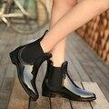 Botas de goma 2017 Impermeable De Moda de La Jalea de Las Mujeres Del Tobillo Bota de Lluvia Banda Elástica Color Sólido Zapatos de Lluvia de Las Mujeres 628 W