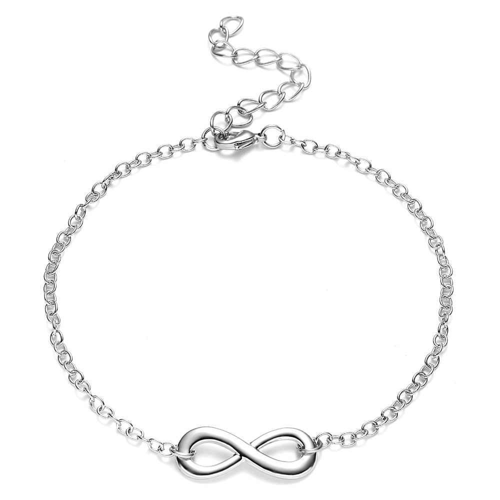 Nieskończoność 8 uroku bransoletki proste Charms bransoletki biżuteria prezent liść miłość serce sowa zwierząt biżuteria ślubna 12 stylów