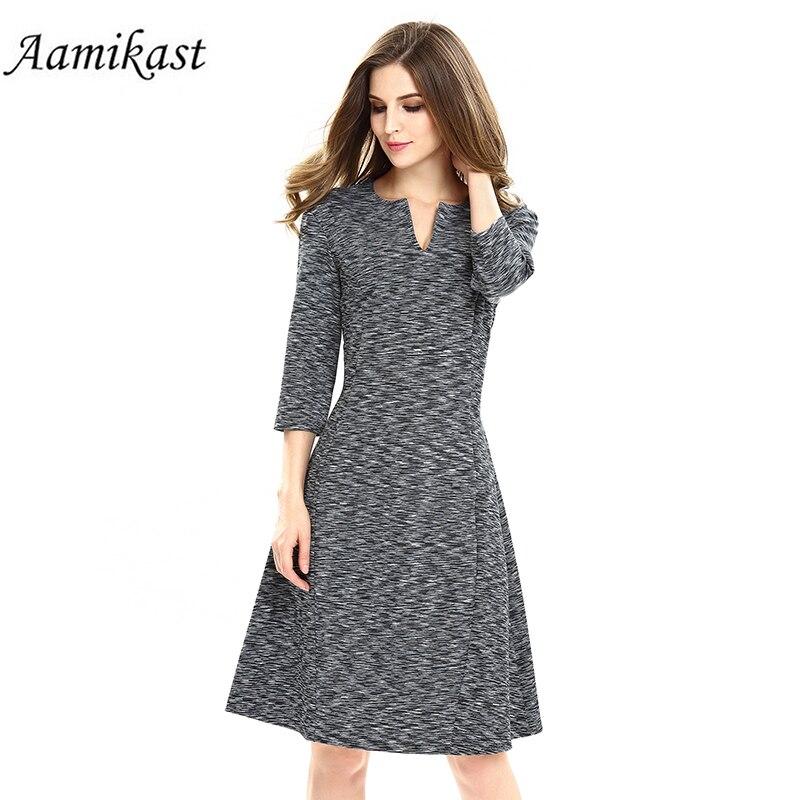 2017 New Women Work Wear Elegant Stretch 3/4 Sleeve Dress Charming Ladies Pencil Spring Autumn Business Casual Midi Dresses short dresses office wear