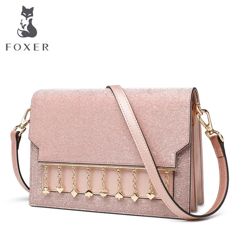купить FOXER 2018 New Women leather bag designer famous brand leather women handbags Casual Cowhide fashion leather shoulder bag по цене 4600.03 рублей