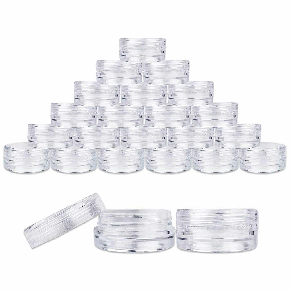 100PCS Sample Pots 5ml Plastic Clear Plastic Sample Container Mini Bottle Pot Jars Cosmetic Tools  Make Up Jars empty bottle