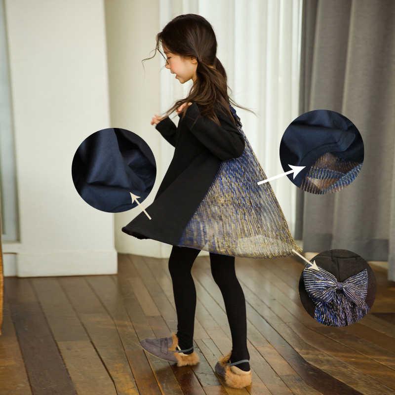 Черный Элегантный Кружевной Костюм принцессы винтажное благородное платье для девочек от 4 до 14 лет, платья с длинными рукавами для выпускного вечера зимняя детская одежда