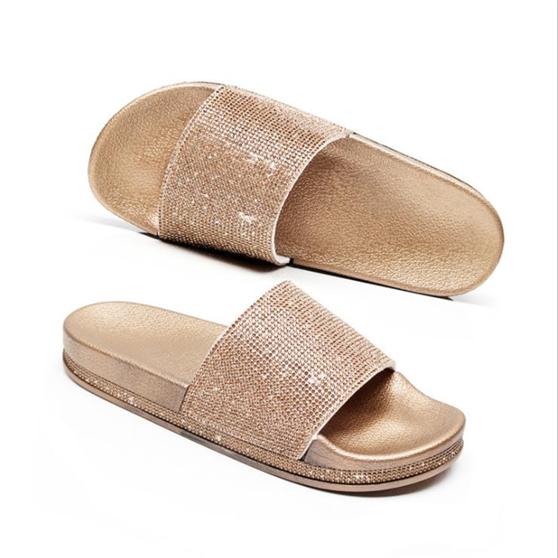 Detail Feedback Questions about 2019 New Arrival Women Slippers Rhinestone  Sandals Spring Summer Slides Home Beach Slippers Flat Platform Shoes Woman  Flip S ... 674b46ae3fdc