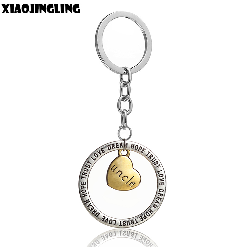 XIAOJINGLING New Trendy Pendant Keychain Fashion Car Key Keyring Keyfob Uncle Gifts Fathers Day Gifts Wholesale Men Accessories