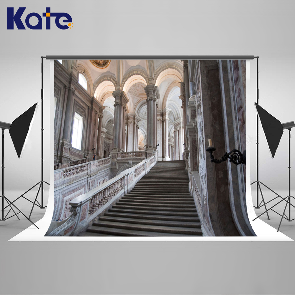 ФОТО Kate Indoor Wedding Backdrop Empty Church Photography Backdrops Stone Staircase Photo Large Size Seamless Photo