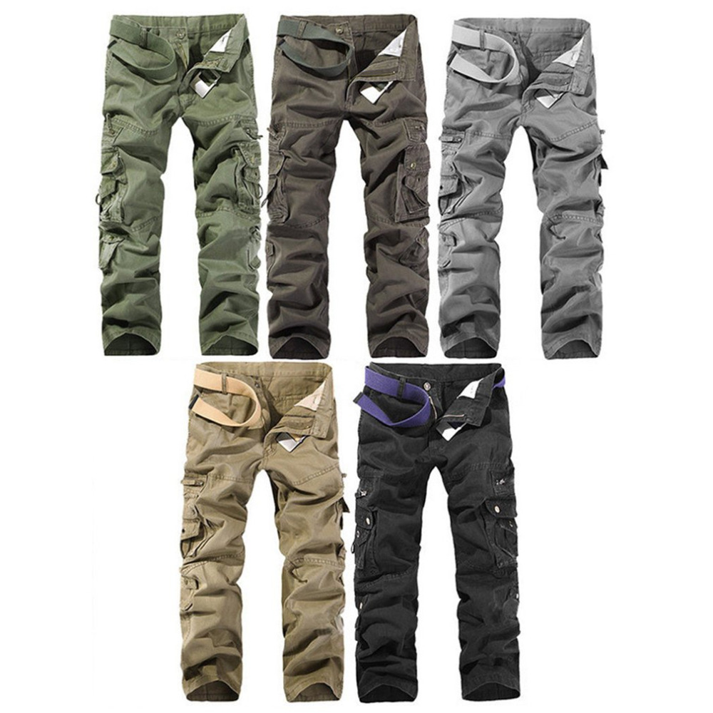 New Sale mens Casual Cotton Cargo Pants 2017 Military Combat Camouflage Loose Pants Trousers For Man Oversized 28-40