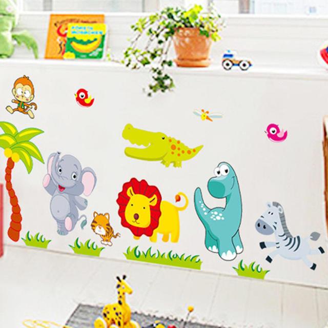 Big Jungle Animals Bridge Vinyl Wall Stickers Kids Bedroom Wallpaper